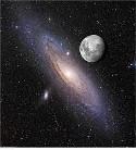 туманность Андромеды и Луна